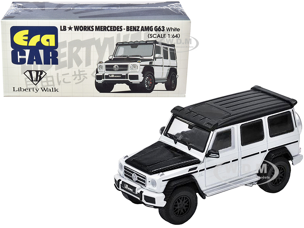 Mercedes-Benz AMG G63 LB Works Wagon White with Carbon Hood and Black Top 1/64 Diecast Model Car by Era Car