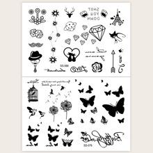 Butterfly & Flower Pattern Face Tattoo Sticker 2pcs