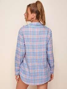 Button Front Zip Side Tartan Top