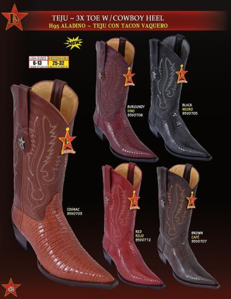 Los Altos Mens 3X Toe Genuine Teju Lizard w/ Cowboy Heel Western Boots