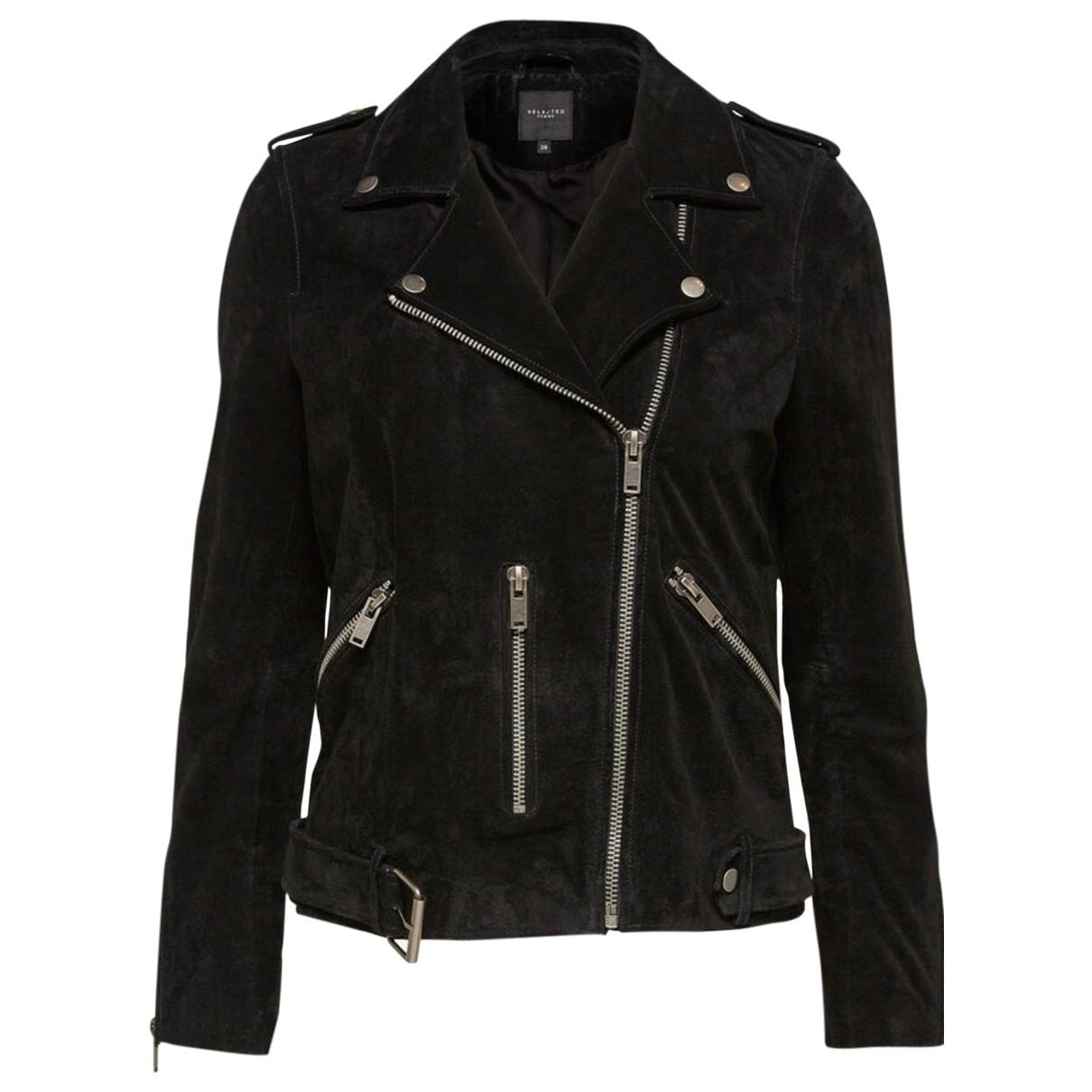 Selected - Veste   pour femme en cuir - noir