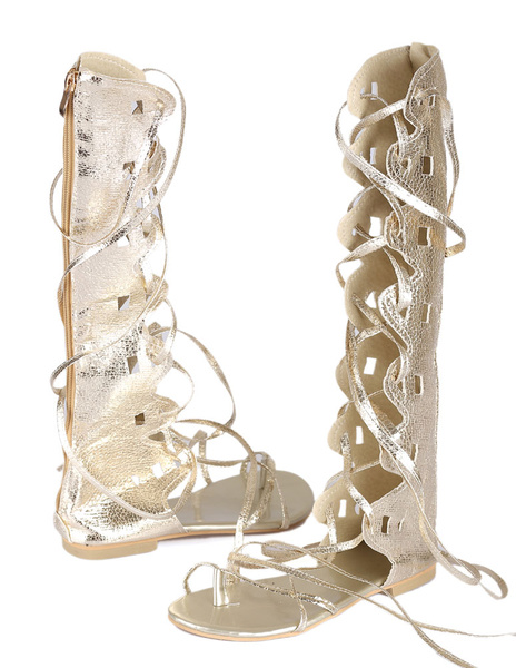 Milanoo Gold Gladiator Sandals Women Toe Loop Lace Up Sandal Shoes Wide Calf Flat Sandals
