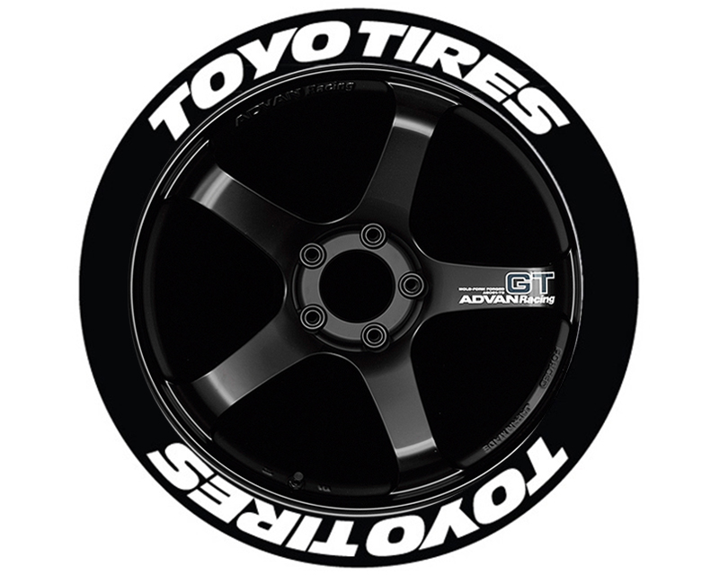 Tire Stickers TOYTIR-1921-1-8-B Blue 'Toyo Tires' Permanent Raised Rubber Lettering Set of 8 - 19