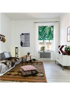 Window Decor Green Palm Leaves Printing Flat-Shaped Roman Shades