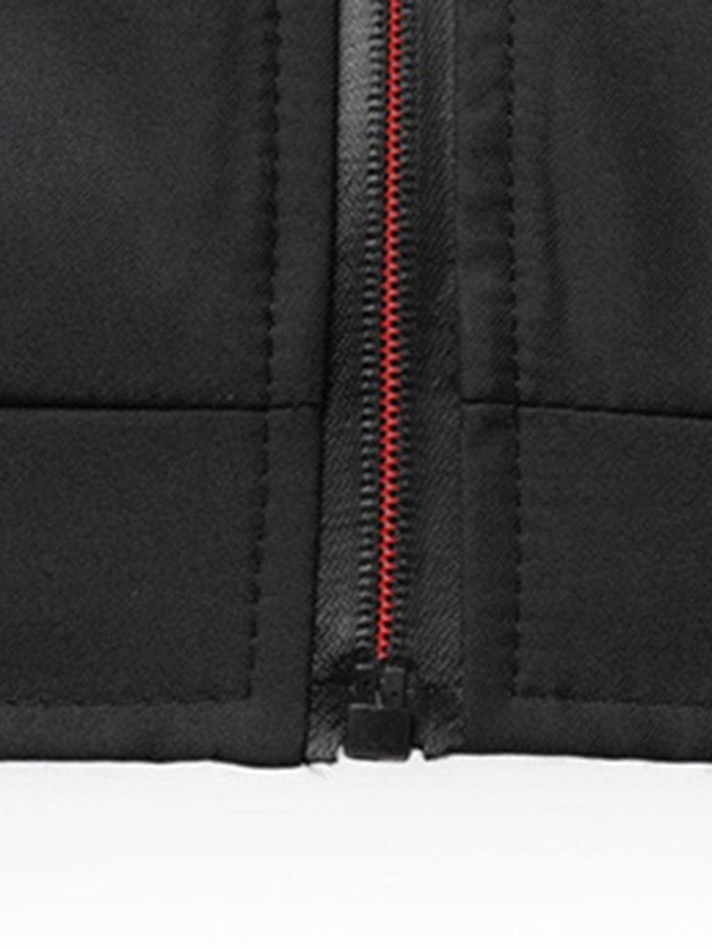 Ericdress Stripe Zipper Men's Stand Collar Jacket