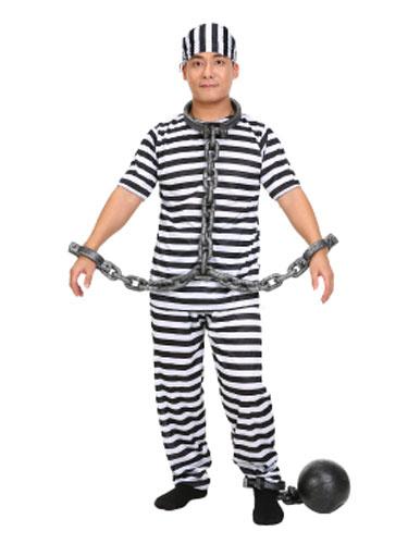 Milanoo Halloween Prisoner Costume Black And White Striped Convict Costume Halloween