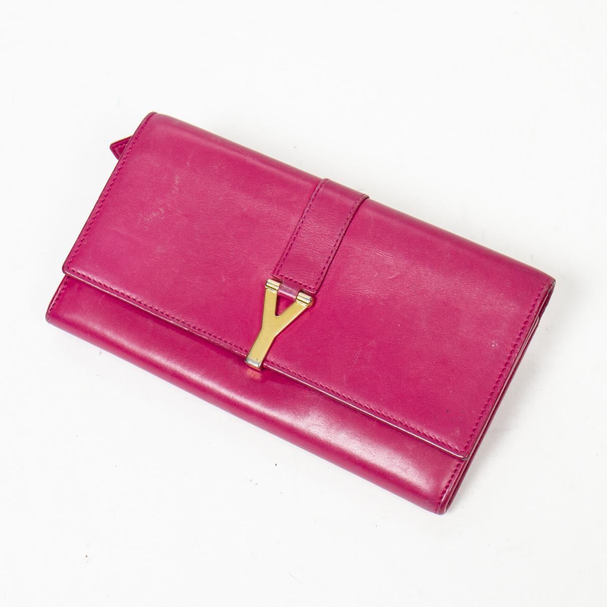 Yves Saint Laurent \N Portemonnaie in  Rosa Leder
