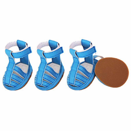 The Pet Life Buckle-Supportive Pvc Waterproof PetSandals Shoes - Set Of 4, One Size , Blue