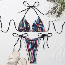 Colorful Striped Triangle Halter Tie Side Bikini Swimsuit