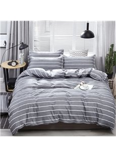 Classic Grey Stripe Soft Duvet Cover 4-Piece Washable Polyester Bedding Sets