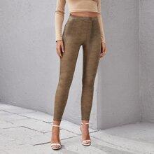 Pantalones ajustados PU de cintura alta