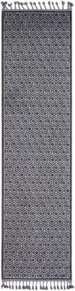 Restoration REO-2305 27 x 10 Runner Global Rug in Charcoal  Black  Medium Gray  Light