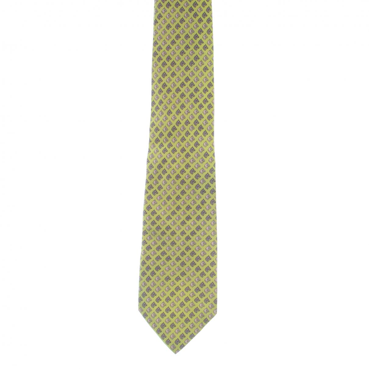Hermes - Cravates   pour homme en soie - jaune