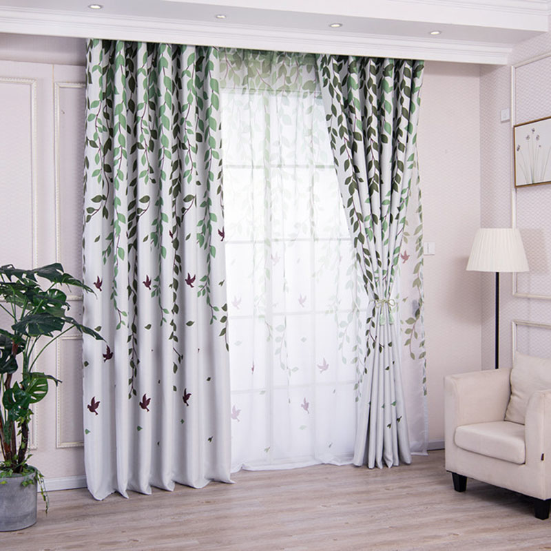 Translucidus Pastoral Leaves Custom Living Room Bedroom Sheer Curtains 30% Shading Rate and UV Rays Environment-Friendly and Pollution-Free Material N