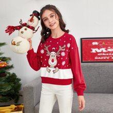 Pullover de hombros caidos con estampado de navidad