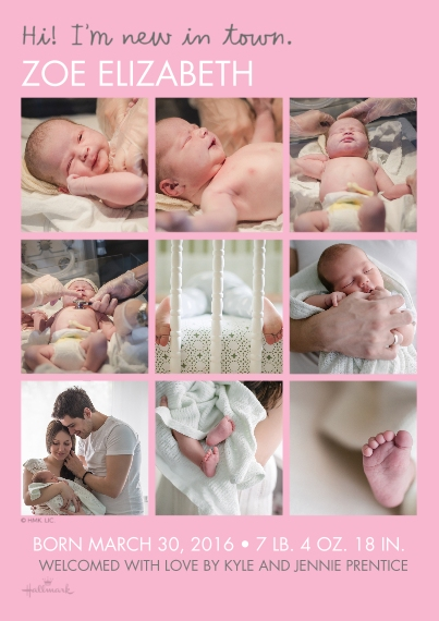 Newborn 5x7 Cards, Premium Cardstock 120lb with Rounded Corners, Card & Stationery -New in Town - Pink