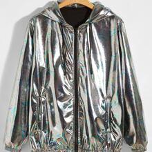 Metallische Jacke mit Reissverschluss und Kapuze