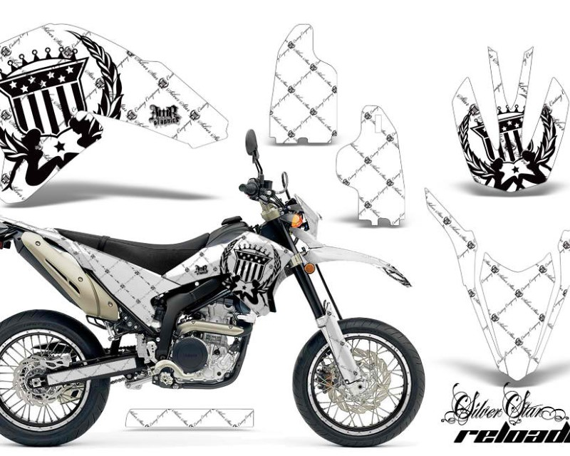 AMR Racing Graphics MX-NP-YAM-WR250R-WR250X-07-16-SSR K W Kit Decals Sticker Wrap + # Plates For Yamaha WR250R WR250X 2007-2016áRELOADED BLACK WHITE