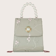 Faux Pearl Decor Floral Embroidery Satchel Bag