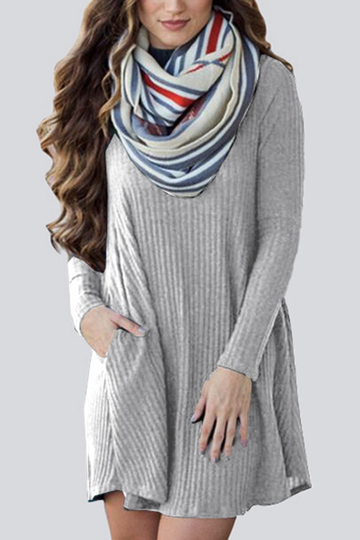 Yoins Light Grey Casual Grey High Neck Mini Dress With Pocket