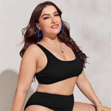 Schwarz Einfarbig Sexy Bikini Sets Grosse Grossen