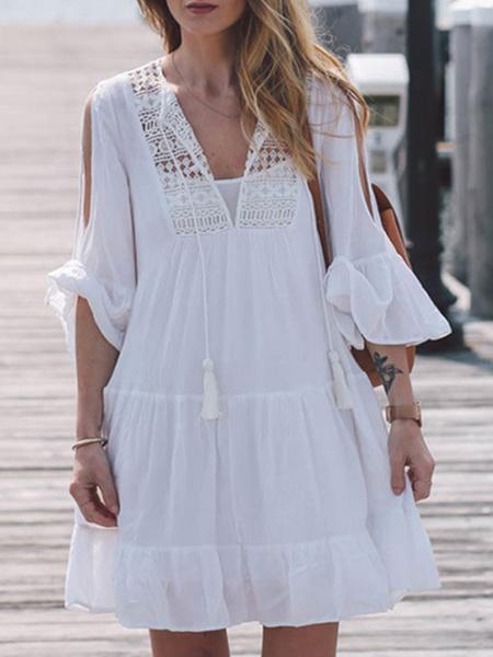 Milanoo Blanco Vestido de verano 2020 con Cuello en V Vestido veraniego con Borlas de Encaje Blusa Casual Vestido