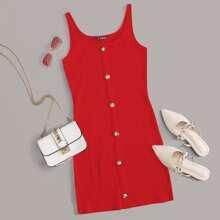 Single Breasted Rib-knit Bodycon Dress