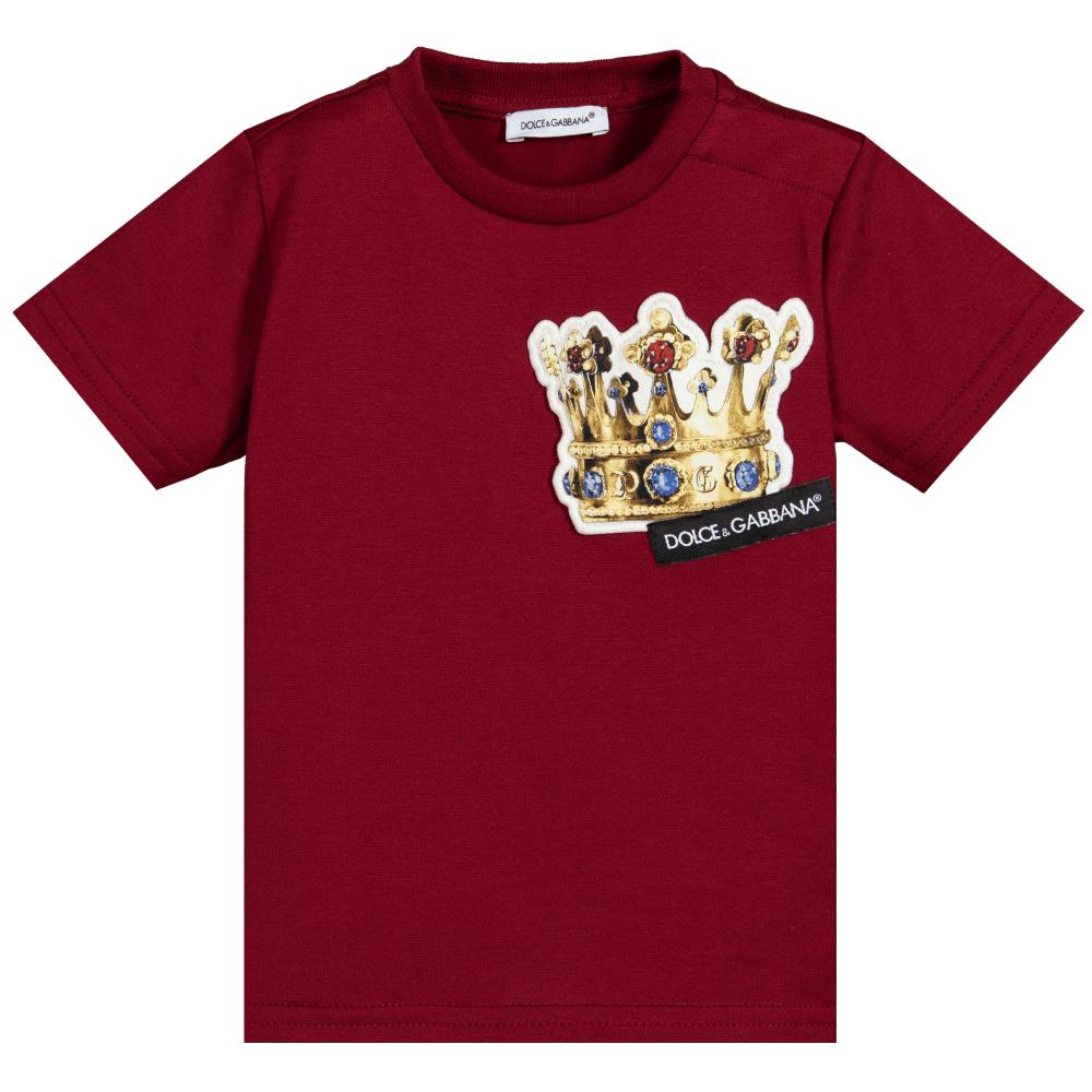 Dolce & Gabbana Kids Cotton Crown T-shirt Colour: BURGUNDY, Size: