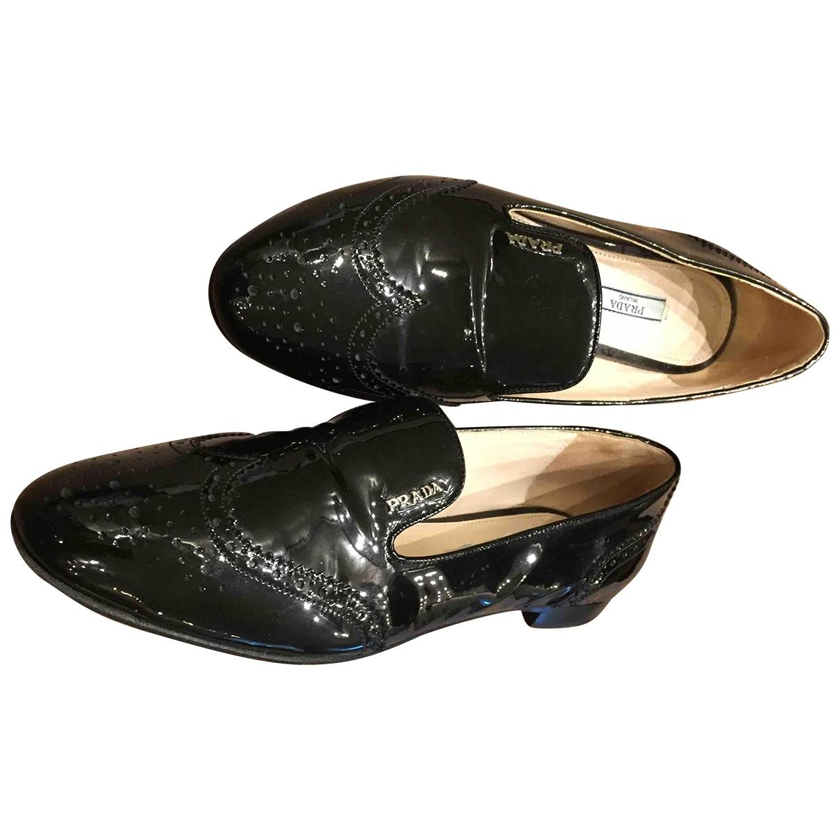 Prada \N Black Patent leather Flats for Women 37.5 EU