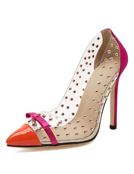 Milanoo Zapatos de mujer azul tacones altos puntiagudos Bow Beaded Slip On Pumps