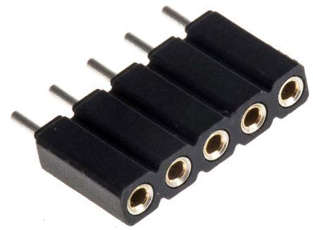 Preci-Dip 5 Way  Straight Through Hole 2.54mm SIL Socket, Solder, 3A 100 V ac, 150 V dc (5)