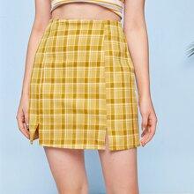 Plaid Split Mini Skirt