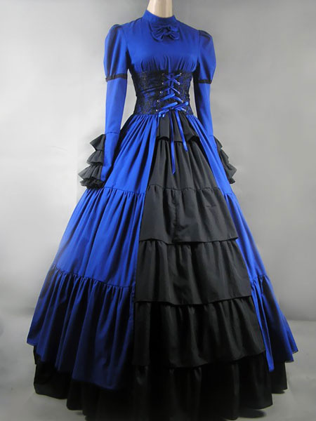 Milanoo Victorian Dress Costume Women's Black Satin Ruffle Long Sleeves Victorian era Outfits Retro Costumes Halloween