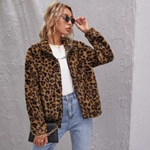 Chaquetas Cremallera Leopardo Elegante