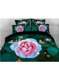 Pink Roses In Green Leaves 3D Printed 4-Piece Polyester Bedding Sets/Duvet Covers
