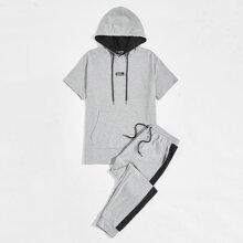 Men Drawstring Hooded Tee & Contrast Side Seam Sweatpants Set