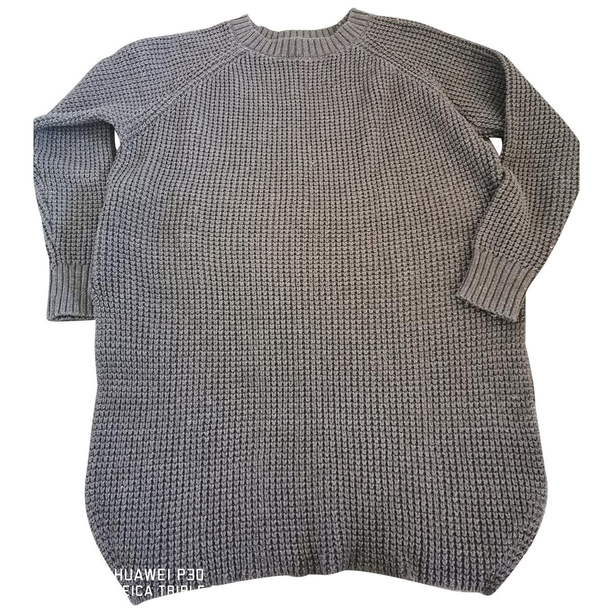 Mango - Pull   pour femme en coton - gris