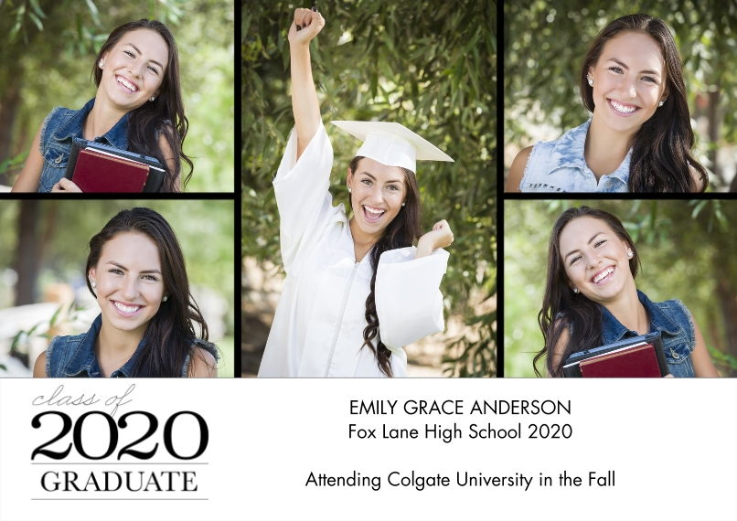 2020 Graduation Announcements Flat Glossy Photo Paper Cards with Envelopes, 5x7, Card & Stationery -2020 Graduation Collage by Tumbalina