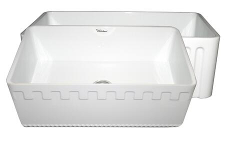 WHFLATN3018-WHITE Reversible series fireclay sink with an Athinahaus front apron one side and fluted front apron on opposite