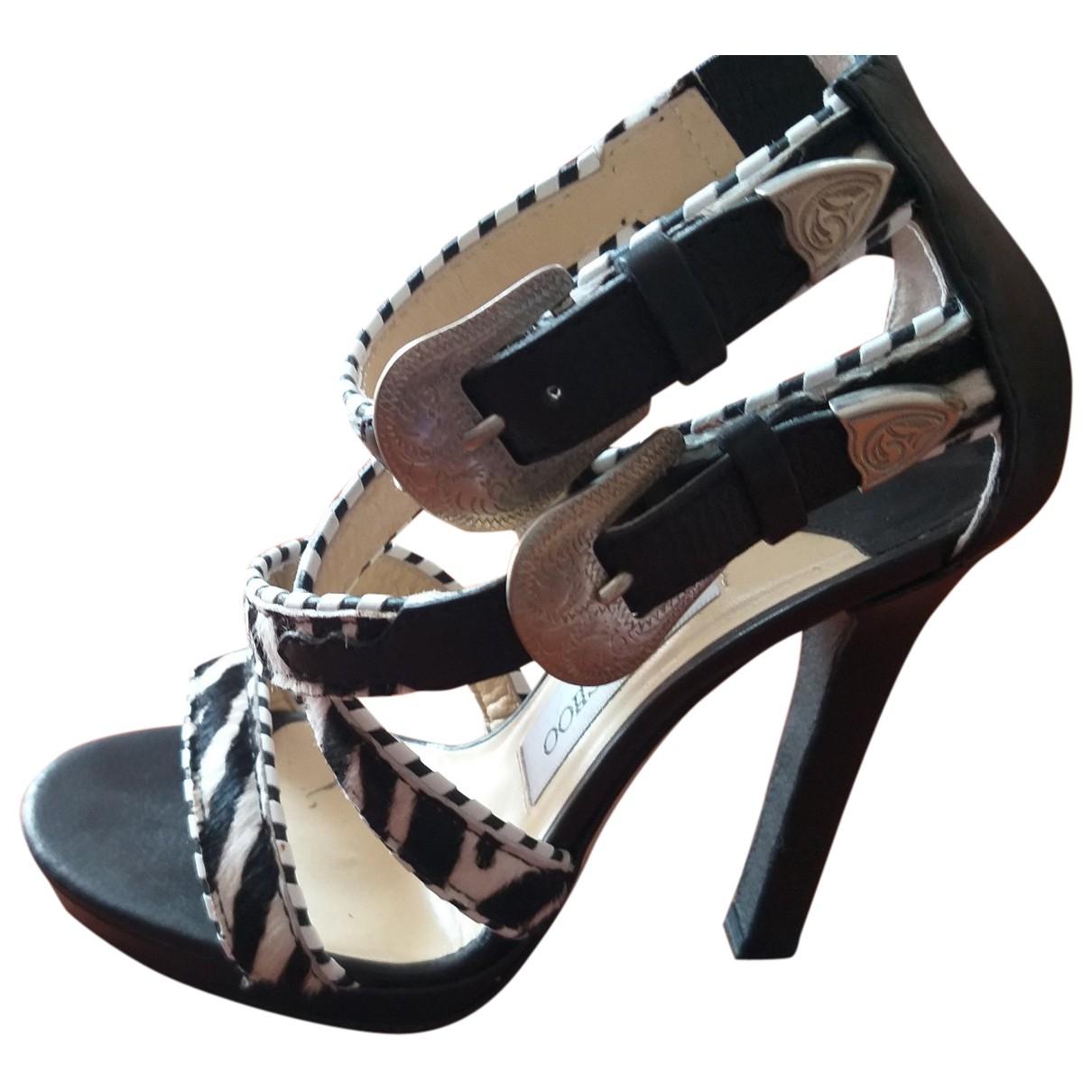 Jimmy Choo Lance Black Pony-style calfskin Sandals for Women 36 EU