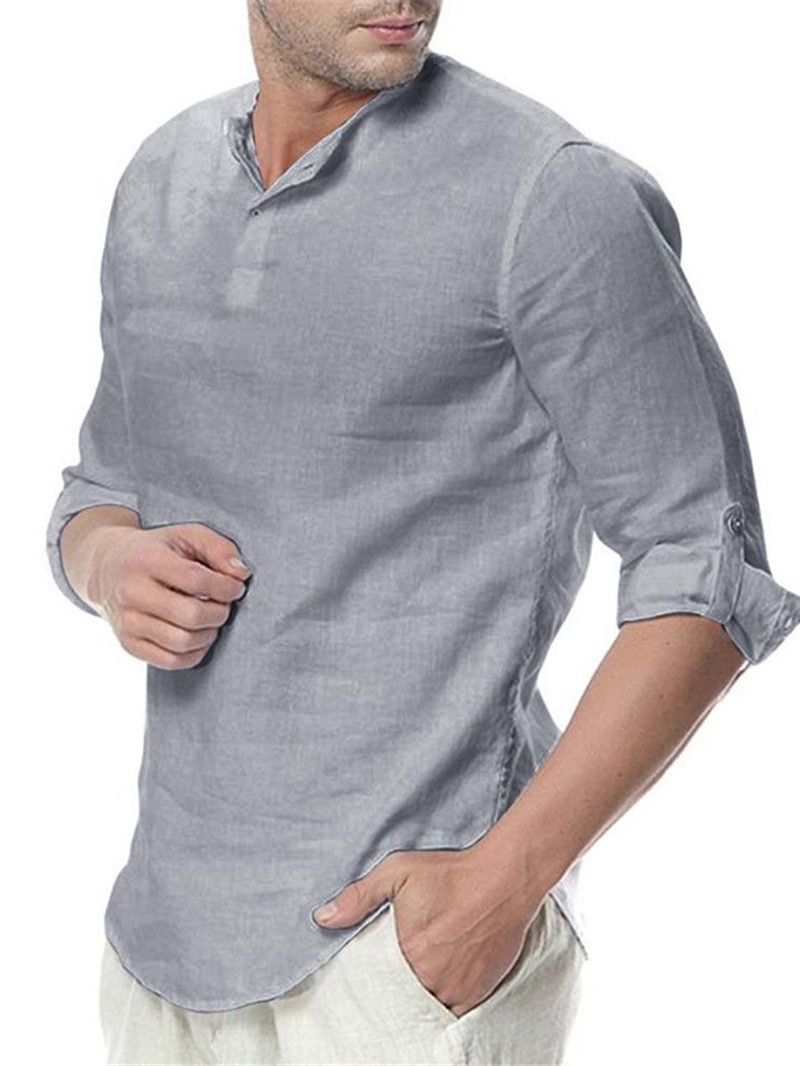 Ericdress Casual Plain Men's Slim Shirt