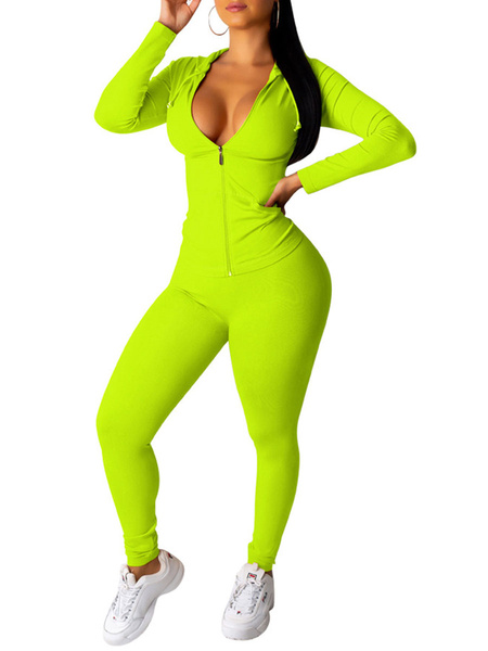 Milanoo Two Piece Tracksuit Neon Green Hoodie Zip Up Long Sleeves Women Outfit