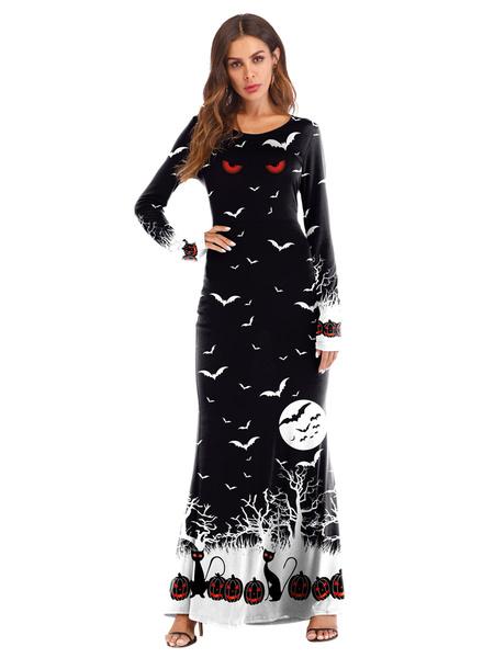 Milanoo Women\'s Halloween Costumes Black Stretch Dress Polyester Holidays Dress