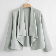 Plus Solid Waterfall Collar Jacket