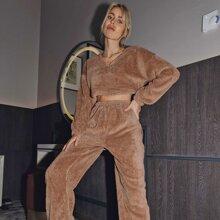 Drop Shoulder Teddy Pullover & Sweatpants Set