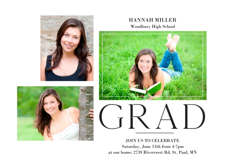 Graduation Invitations Flat Glossy Photo Paper Cards with Envelopes, 5x7, Card & Stationery -Modern Grad