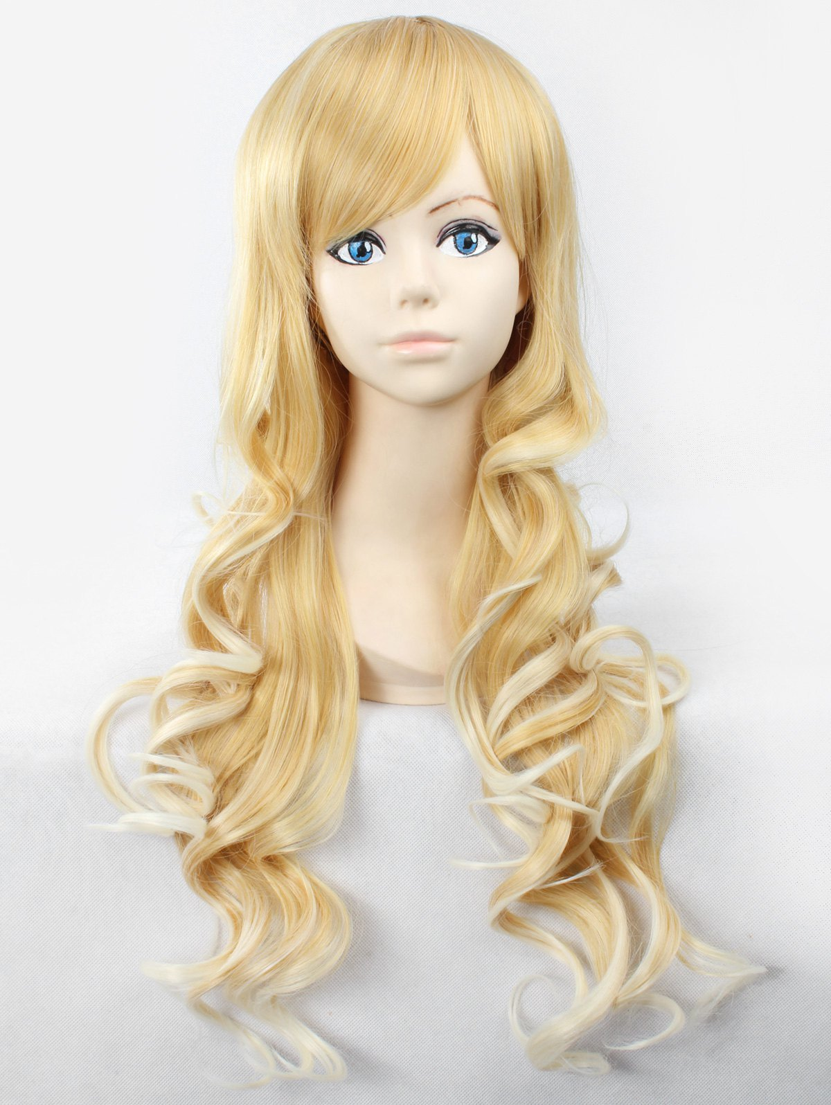Long Inclined Bang Body Wave Anime Synthetic Wig