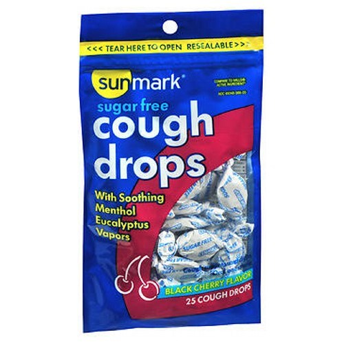 Sunmark Sugar Free Cough Drops Black Cherry Flavor 25 Each by Sunmark