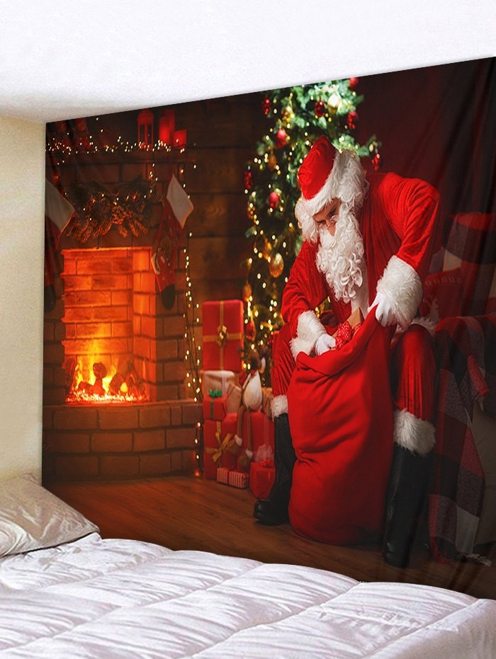 Christmas Tree Santa Claus Fireplace Print Tapestry Wall Hanging Art Decoration