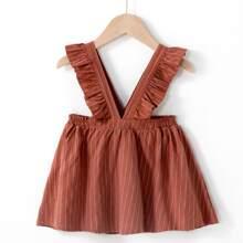 Toddler Girls Striped Ruffle Trim Suspender Dress